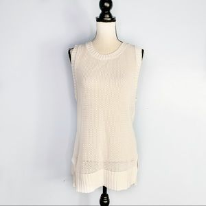 CAbi White Open Knit High Low Sleeveless Tunic EUC